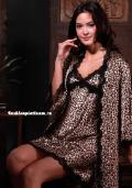 Сексуальные пеньюары: длинный леопардовый пеньюар со стрингами, бельё от 499 руб./ цены, фото, отзывы в интернет магазине Fashionplatinum.ru